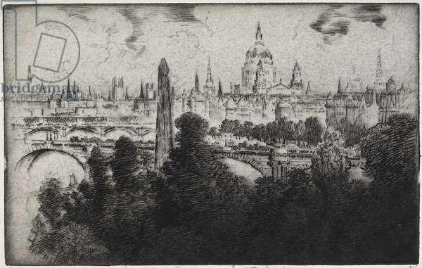 London Over Embankment Gardens, 1906