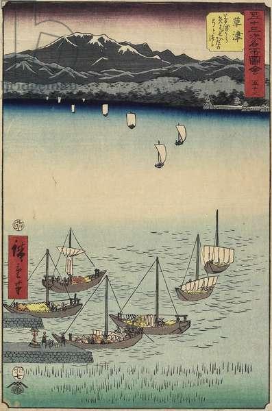 53, Sailing Boats at Yabase Ferry Gate on Kusatsu Beach, Kusatsu, 1855 (colour woodblock print)