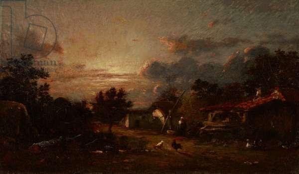 Village Scene, Sunset, c.1870 (oil on canvas)
