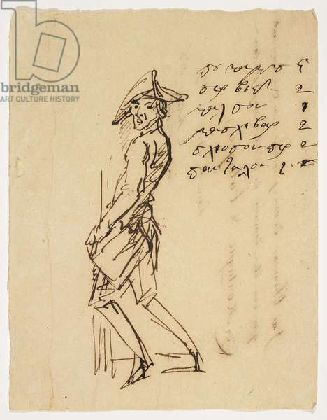 Caricature of a Young Soldier, 1809 (pen and brown ink on paper)