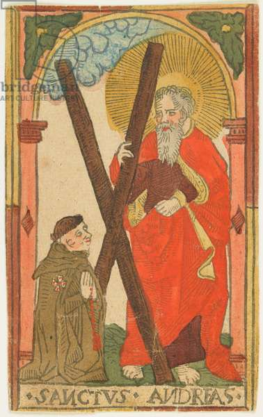 St. Andrew with a Monk (Elsass?), c.1500 (hand-coloured woodcut)