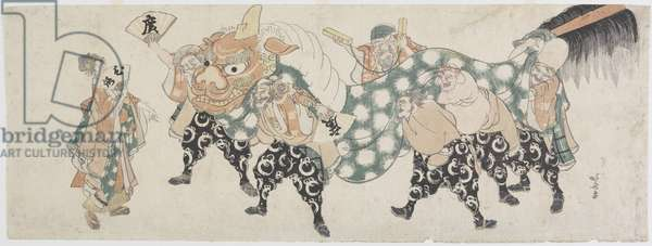 Six Male Gods Performing the Lion Dance, 1797-1819 (colour woodblock print)