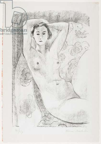 Seated Nude in Armchair with Floral Decoration, 1924