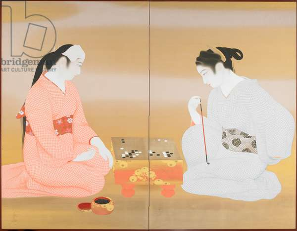The Game of Go, c.1924 (ink & colours on silk)