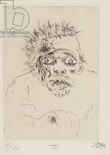 Fliehender Verwundeter (Sommeschlacht 1916) (Wounded Man Fleeing [Battle of the Somme 1916]), plate 10 from Der Krieg (The War), 1924