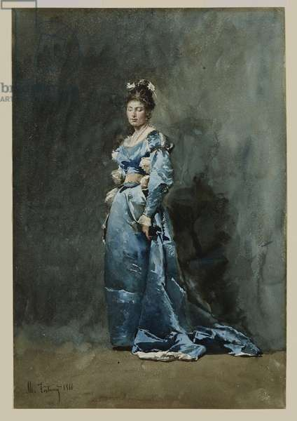 A Young Woman in a Blue Dress, 1866 (w/c & white gouache on paper)