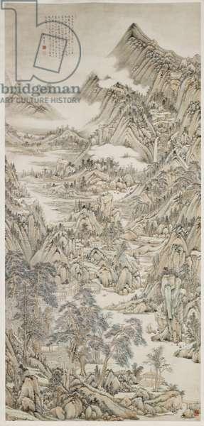 Landscape After Huang Gongwang, 1752 (ink & colour on paper)