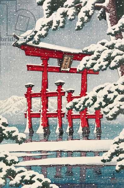 Snow at Miyajima Shrine, July 1929 (colour woodblock print)