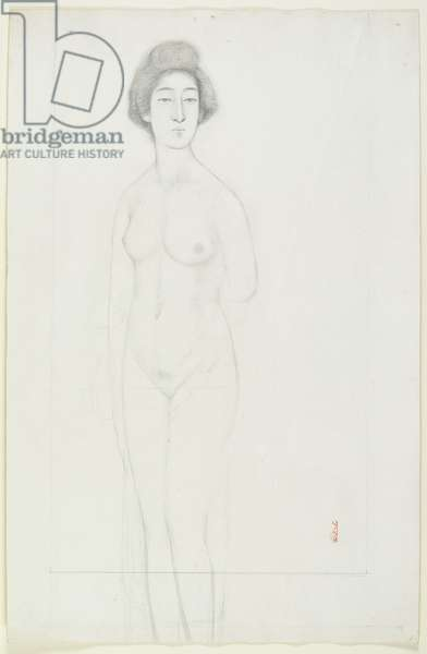 Drawing of a Frontally Posed Nude, early 20th century