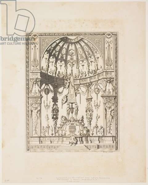The Satyr Funeral from a series of designs for decorative panels, 1670-80 (engraving)