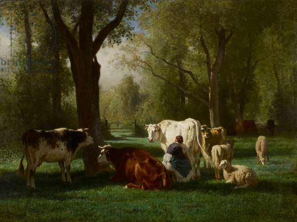 Landscape with Cattle and Sheep, 1852-8 (oil on canvas)
