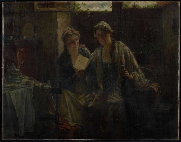 Two Women Visiting, 19th century (oil on canvas)
