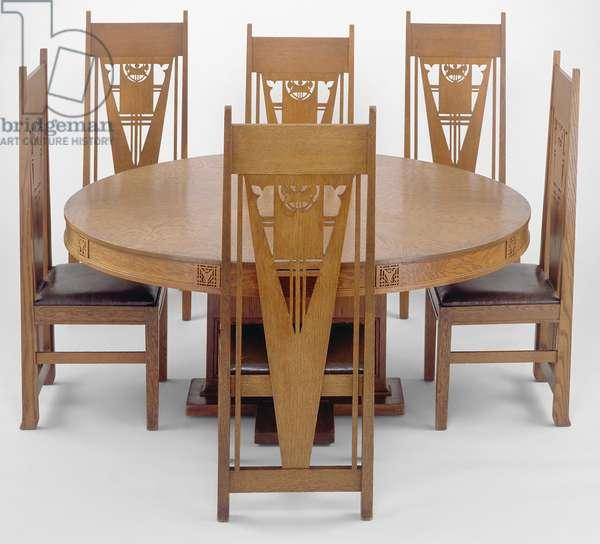 Dining Table and Chairs, 1910 (oak, oak veneer, synthetic upholstery, jute webbing)