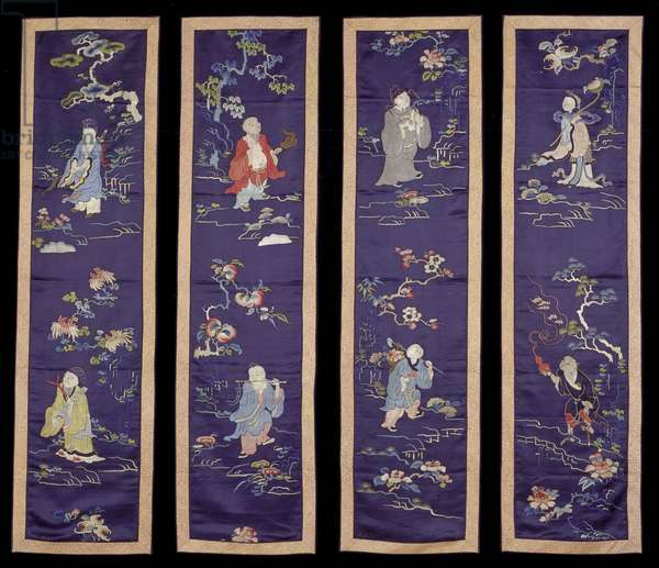 Set of four panels depicting the Eight Immortals, early 20th century (silk)