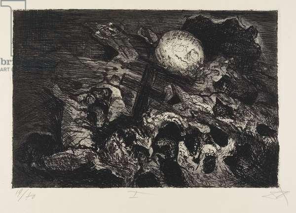 Soldatengrab zwischen den Linien (Soldier's Grave between the Lines), plate 1 from Der Krieg (the War), 1924