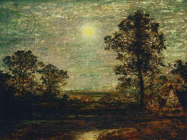 Untitled (Moonlit Landscape) (oil on panel)