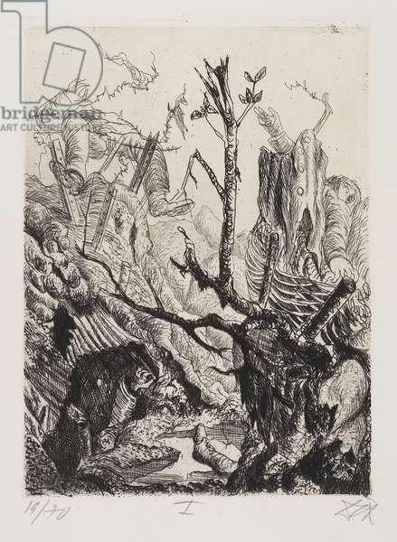 Verlassene Stellung bei Neuville (Abandoned Position near Neuville), plate 11 from Der Krieg (The War), 1924