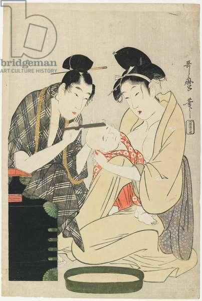 Shaving a Boy's Head, Edo Period, c.1801 (colour woodblock print)
