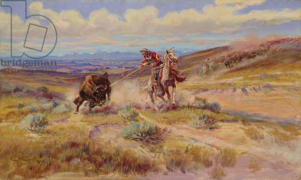 Spearing a Buffalo, 1925 (oil on canvas)