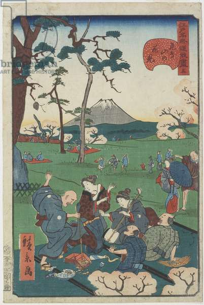 No.5, Cherry-blossom Viewing at Asuka Hill, 1859 (colour woodblock print)