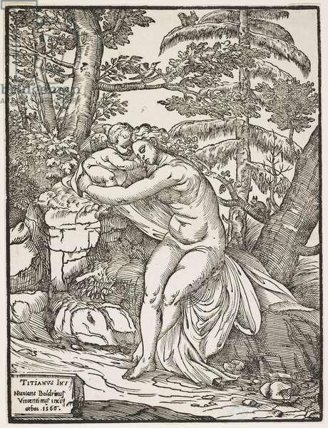 Venus and Cupid, 1566 (chiaroscuro woodcut, key block only)