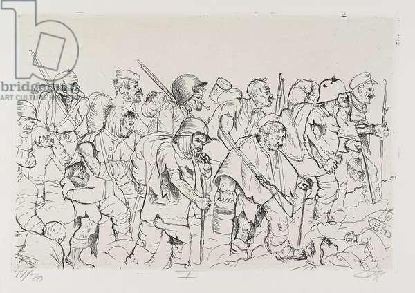 Abgekämpfte Truppe geht zurück (Sommeschlacht) (Exhausted Troops Fall Back [Battle of the Somme]), plate 21 from Der Krieg (The War), 1924