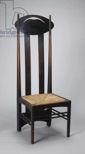 High-back side chair, 1898 (oak & rush)
