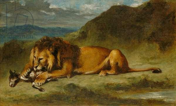 Lion Devouring a Goat, c.1850 (oil on canvas)