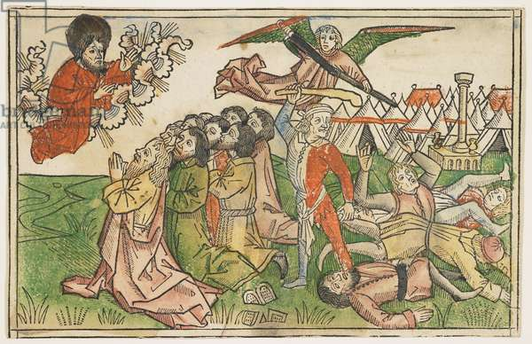 People of Israel Punished for Worshipping False Gods in around 1478, from The Koberger Bible, Nuremberg, 1483 (hand-coloured woodcut)