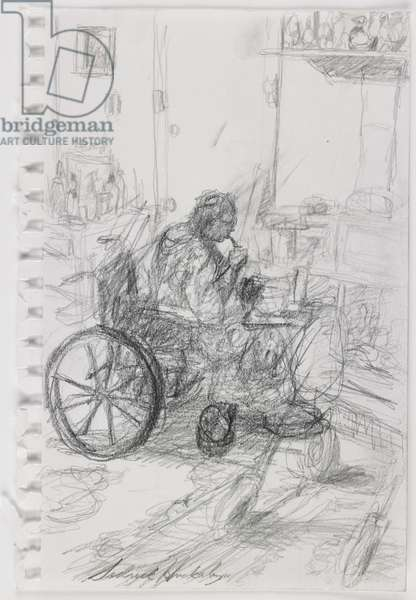 Untitled (Big Mama in her Wheelchair), 2008 (graphite on paper)