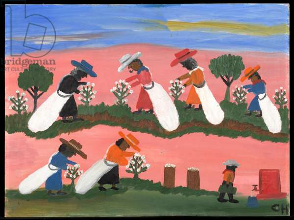 Picking Cotton, 1950s (oil on board)