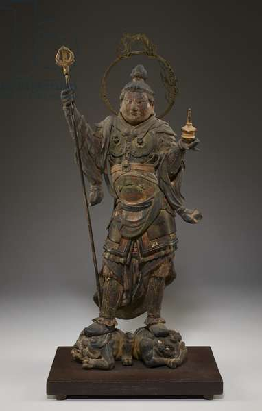Bishamonten (Vaisravana, Guardian of the North) (polychromed wood with crystal, gold-leaf & metal)