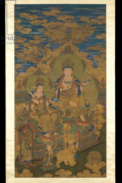 Two versions of bodhisattva Guanyin, c.1750 (ink & colour on silk)