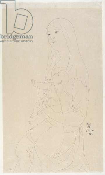 Mother and Child, 1924 (pen & black ink on paper)