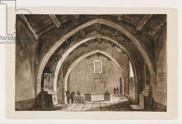View of a Church Interior, early 19th century (pen & brown ink & wash over black chalk)