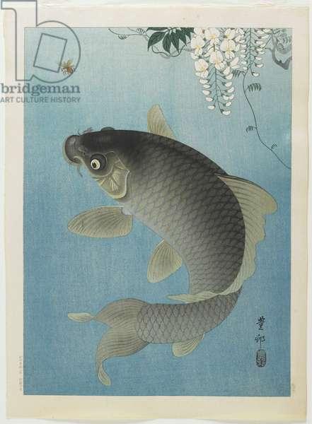 Carp Leaping, 1930s (colour woodblock print)