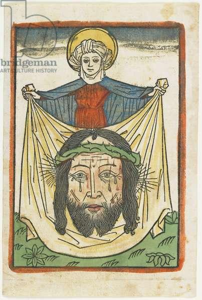 Saint Veronica with the Sudarium, c.1475 (hand-coloured woodcut)