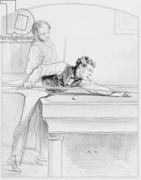 "Le billard, Plate 19 from ""Les Toquades"", 1858"