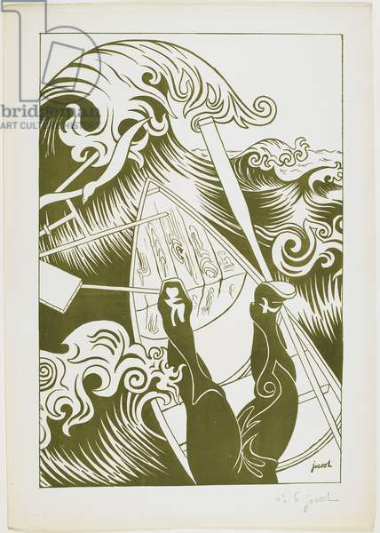 La Vague (The Wave) 1894 (litho in olive-green ink)