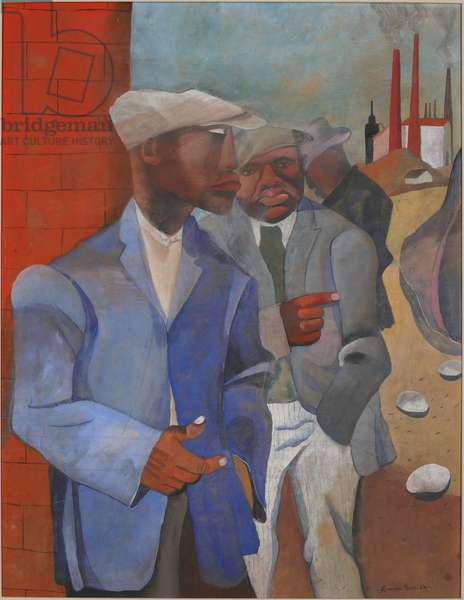 Factory Workers, 1942 (gouache & casein on paper)