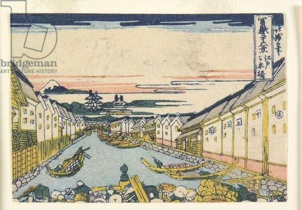 Nihonbashi Bridge in Edo, 1835-40 (colour woodblock print)
