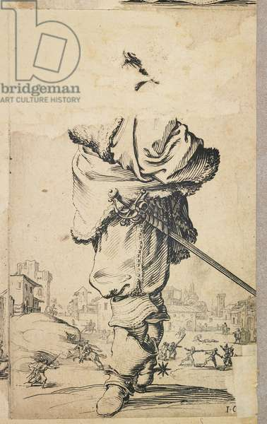 """Nobleman with Fur Breastplate, from """"La Noblesse de Lorraine"""" (verso), c. 1620-23 (etching)"""