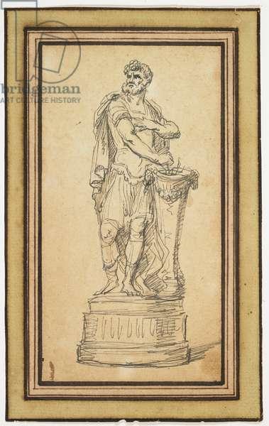Figure Study of Mucius Scaevola (pen & black in on paper)