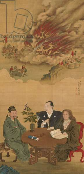 Hanging Scroll depicting 'A Meeting of Japan, China and the West',