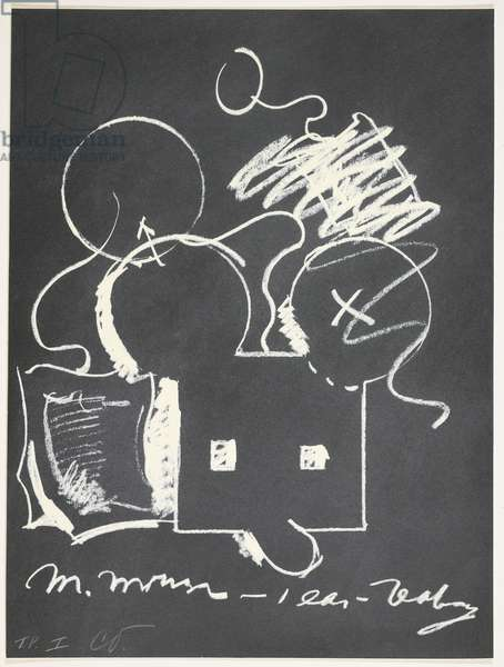 M. Mouse (with) 1 Ear (equals) Tea Bag Blackboard Version (1965), from