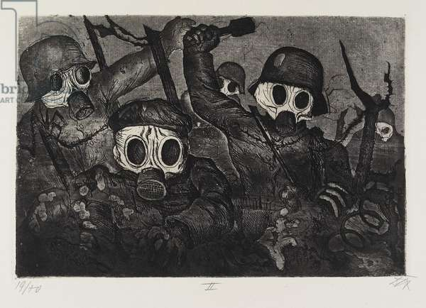 Stormtruppe geht unter Gas vor (Storm Troops Advance under a Gas Attack), plate 12 from Der Krieg (The War), 1924