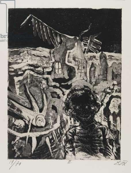 Nächtliche Begegnung mit einen Irrsinnigen (A Nocturnal Encounter with an Insane Man), plate 22 from Der Krieg (The War), 1924
