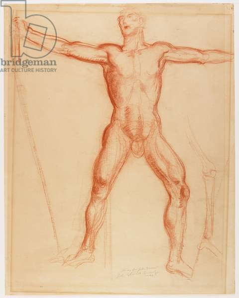 """Study for the figure of John Brown in the """"Tragic Prelude"""" mural for the Kansas Statehouse, 1940 (red conté crayon)"""