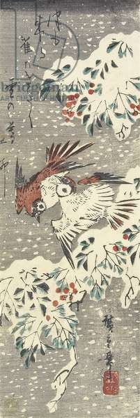 (Heavenly Bamboo and Sparrows in Snow), 1830-1858