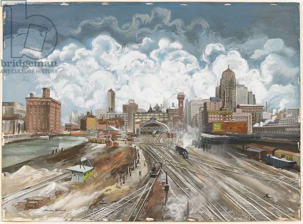 Railroad Yard, Chicago, c.1935-40 (gouache on board)